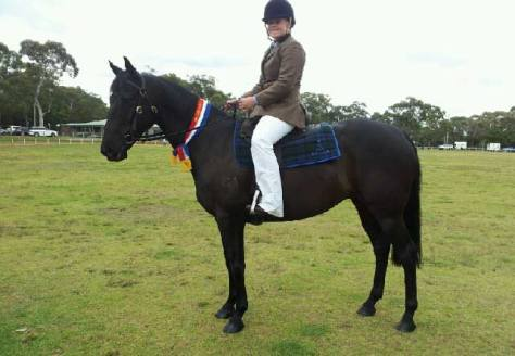 One of Sandie's award-winning riding students.