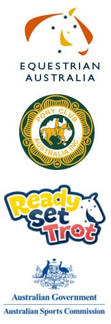 Logos: Equestrian Australia, Pony Club Australia, Ready Set Trot, Australian Sports Commission