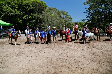 Riders, horses, ponies, Sandie (HPRA owner) and Santa lined up for a photo after the event