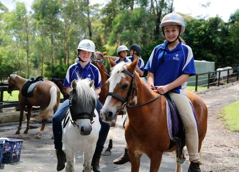 Mini, at right, heading out for a ride