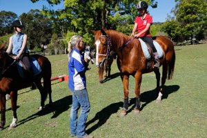Sandie talking to one of the mounted riders