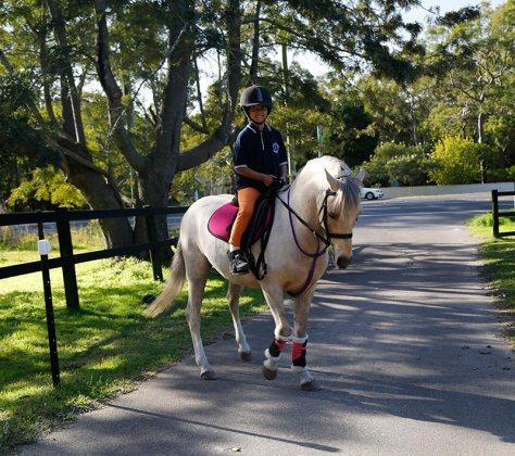 Yoko riding her pony, Bailey